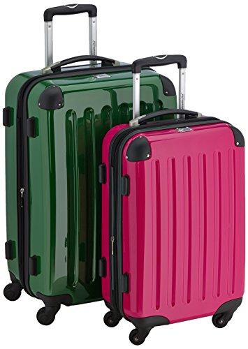 HAUPTSTADTKOFFER - Alex - 2er Koffer-Set Hartschale glänzend, TSA, 65 cm + 55 cm, 74 Liter + 42 Liter, Graphit-Gelb Grün-magenta