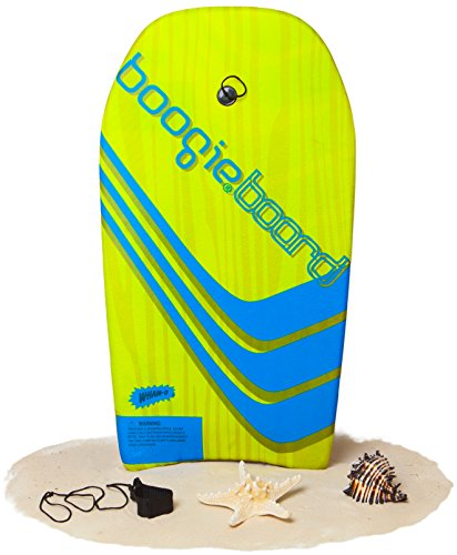 Yellow Boogie Board (Boogie Board 33 Fiberclad Bodyboard - Durable Fiberclad Deck with Phuzion Core and Leash - Choose Your Graphics (H2Ockey Sticks, Blue/Yellow))