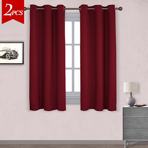 NICETOWN Thermal Insulated Solid Grommet Blackout Curtains / Drapes for Livingroom (One Pair,42 by 63-Inch,Burgundy Red)