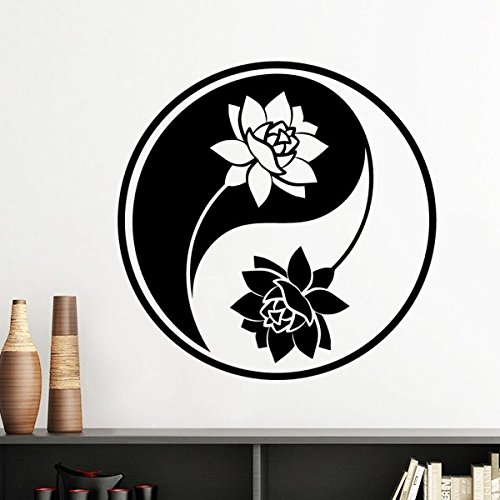 Buddhism Religion Buddhist Black White Yin-yang Lotus Round Design Illustration Pattern Silhouette Removable Wall Sticker Art Decals Mural DIY Wallpaper for Room ()