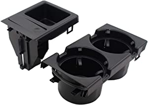 NewYall Black Front Center Console Drink Cup Holder & Coin Tray Box