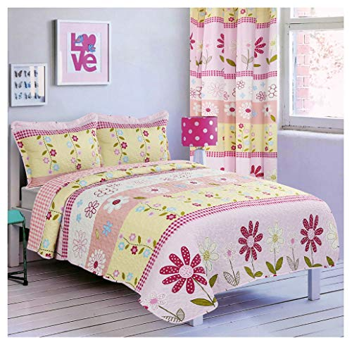 All American Collection Teens/Girls Bedspread and Pillow Sham Set | Matching Curtains Available! (Twin Size)