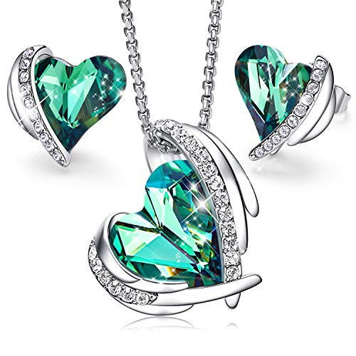 CDE Jewelry Set Green Pendant Necklace and Studs Earrings for Women Embellished with Crystals from Swarovski Jewelry Gift for Women