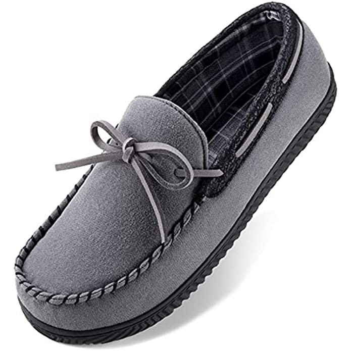 ULTRAIDEAS Men's Cozy Moccasin Slipper with Memory Foam and Indoor Anti-Skid Rubber Sole