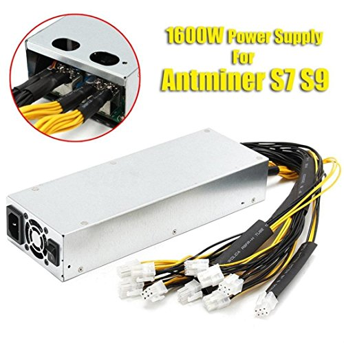 NXDA Platinum 1600W Power Supply For Bitcoin Coin Mining Miner Machine Antminer S7 S9,6 PIN X 10 Pcs,Efficiency: ≥92% (Silver)