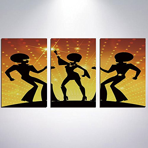 3 Panel Canvas Prints Wall Art for Home Decoration 70s Party Decorations Print On Canvas Giclee Artwork For Wall DecorDancing People Disco Night Club Afro Hairs Gold Colored Bokeh Dec