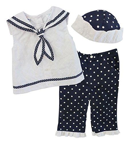 B.T. Kids Baby Girls' 3 Pc Sailor Capri Set 6-9 mos navy/white