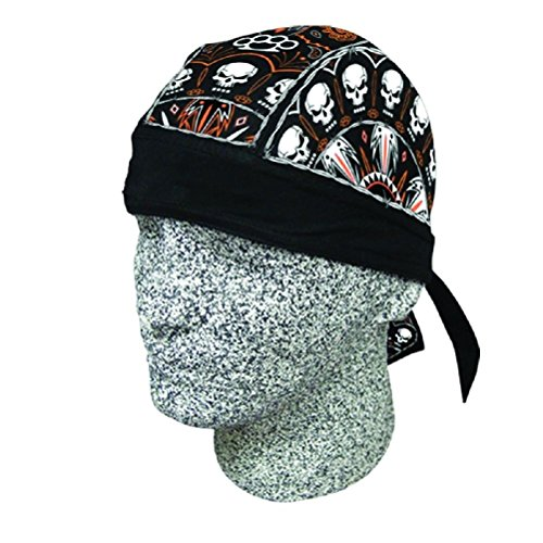 Twisted Metal Skull Black Orange Doo Rag Headwrap Biker Durag Sweatband by ZIZI SPORTS SUPPLY