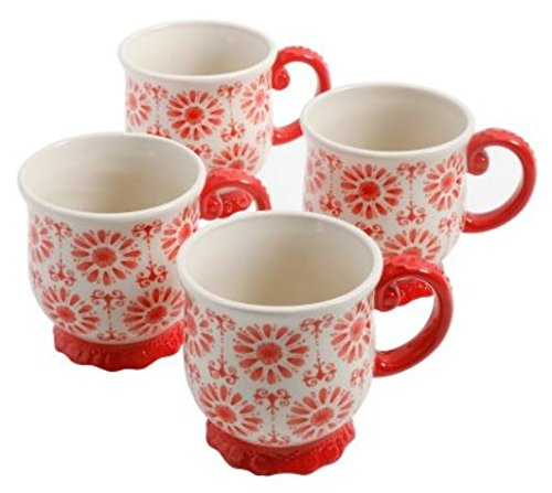 (The Pioneer Woman Stoneware Floral Bursts Footed 19oz Mugs, Set of 4)
