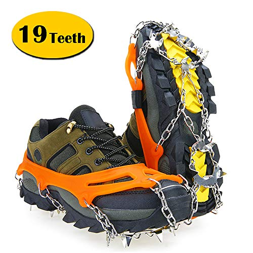 Unizooke Ice Cleats for Women Men, 19 Snow Spikes Ice Crampons for Walking, Jogging, Climbing and Hiking from Unizooke