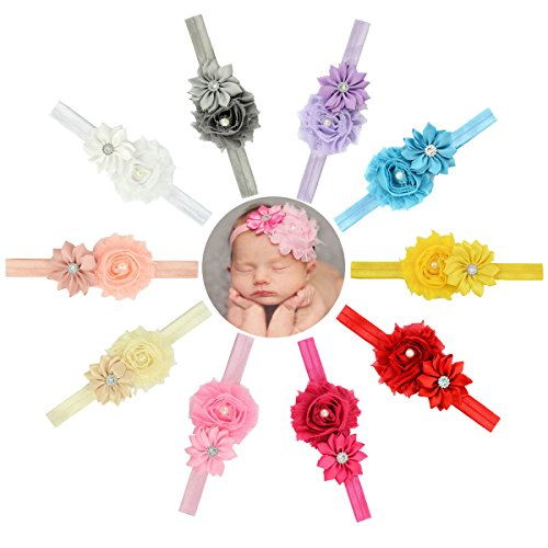 Welandtech Boutique Baby Girl Headbands Set Flower Hair Bow Hairband - 10 Value Pack (Boutique Ribbon Flower Bow Headband)