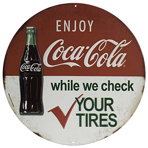 Open Road Brands Vintage Retro Metal Tin Signs - Coca-Cola Round Embossed Metal Sign - for Diner/Bar Art, Man Caves, and Home Decor