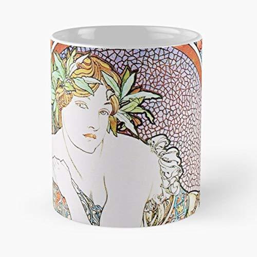 1898 Fine Art - Vintage Alphonse Mucha Woman With Poppies 1898 Art Nouveau Fine Paintings - Funny Coffee Mug, Gag Gift Poop Fun Mugs