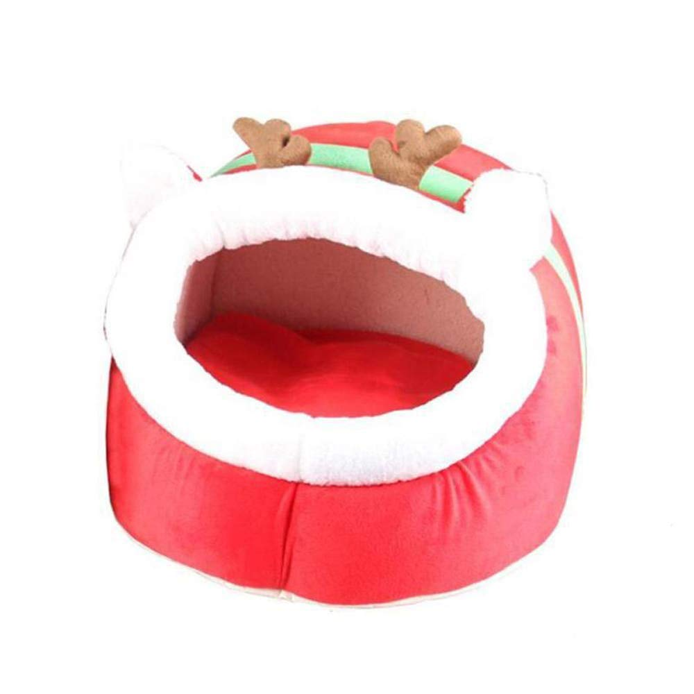 L ATR Pet Waterloo Christmas Elk Dog House Winter Warm Dog Bed Small Dogs Nest Kennel Pet Supplies Red Pet Bed For Puppy Kittens (Size  L)