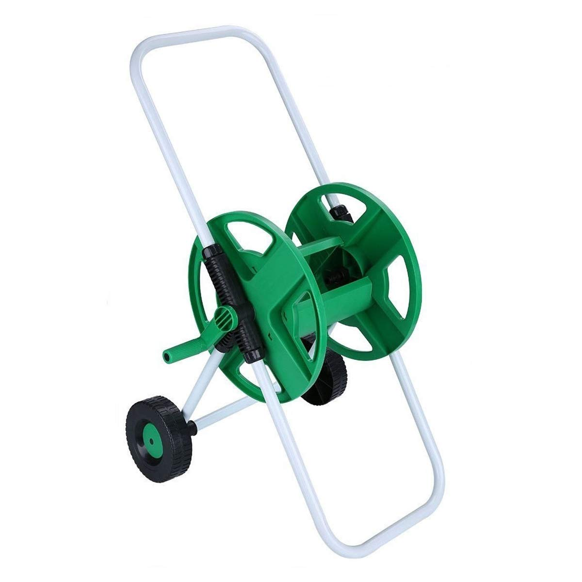 J&T Hose Reel Mobile Rolling Cart Storage Holder Outdoor Garden Water Pipe, 150 ft.