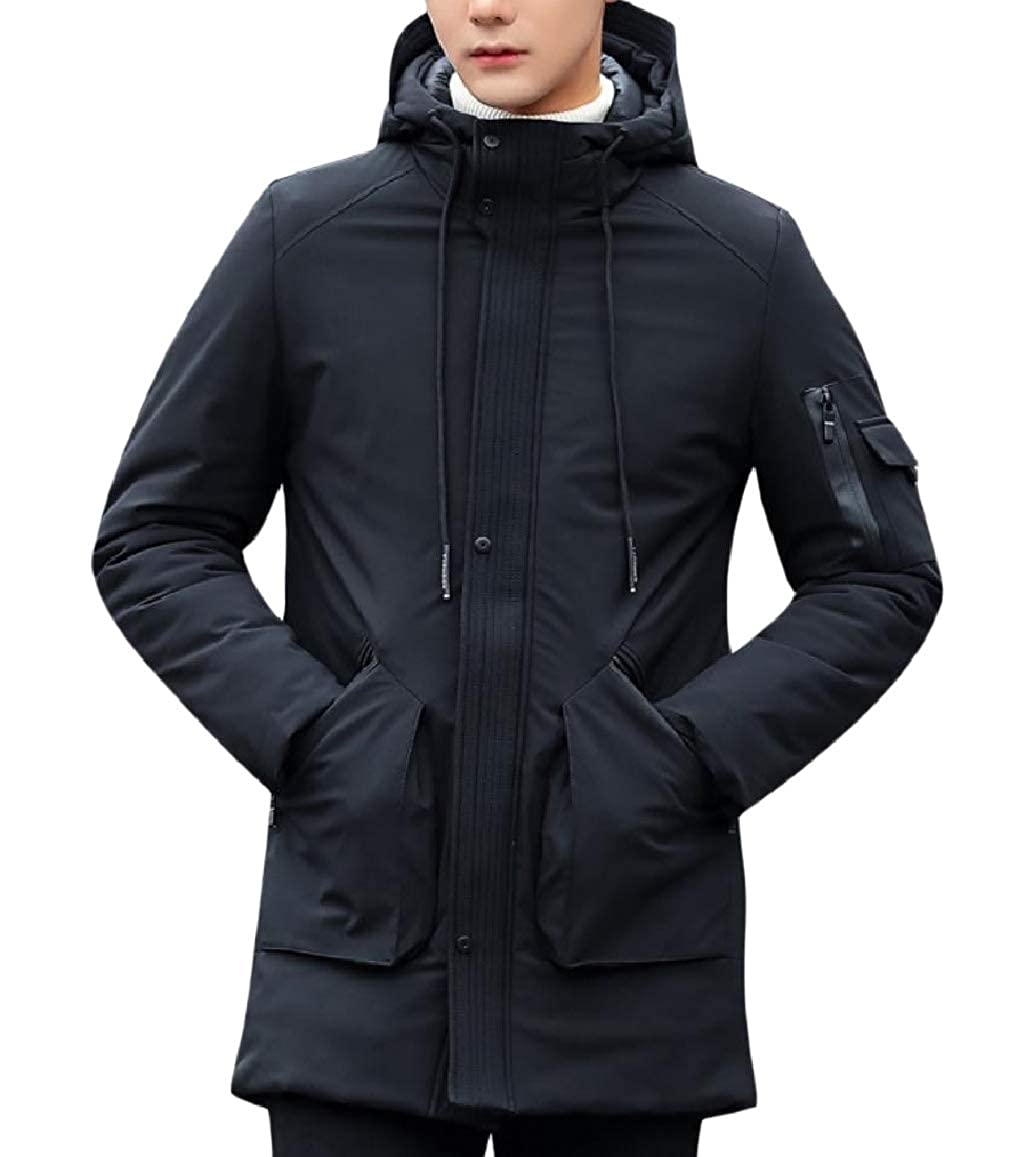 RDHOPE-Men Padded Hoodie Thick Loose Quilted Puffer Overcoat Outerwear