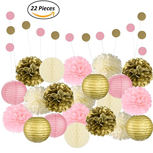 Adorable Mixed Pink, Gold & Ivory Party Decorations By Epique Occasions – Set Of Hanging Tissue Paper Flower Pom Poms, Lanterns & Honeycomb Balls For Birthday, Wedding & Party Décor-22 Pcs & String - Birthday Party Honeycomb
