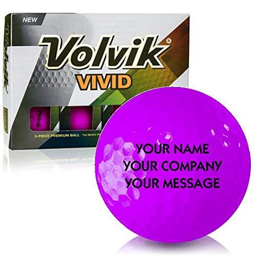 Volvik Vivid Matte Purple Personalized Golf Balls ()