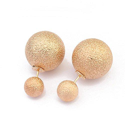 Winter's Secret Gold Color Exquisite Double Sides Dull Polish Ball Shape Stud (Mix Match Jordans)