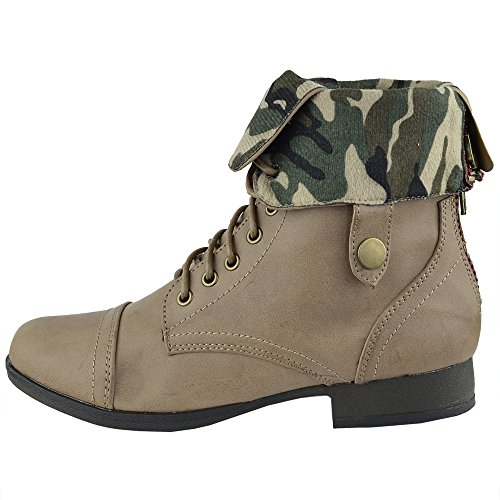 Damesschoenen Camouflage Voering Veterpistool Beige