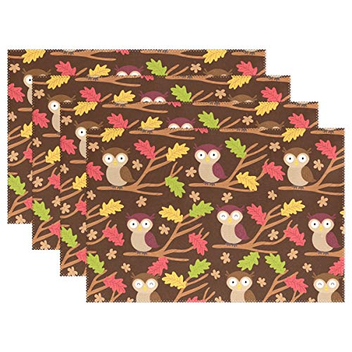 Toddy Astridd Fallen Leaves and Owls Placemats for Dining Table Set of 1 Heat-Resistant Stain Resistant Kitchen Table Mats Washable Placemat