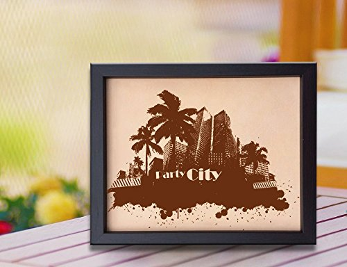 Lik234 Leather Engraved Wedding Third Anniversary Miami city Longitude Latitude personalized gift place house - Miami Place City