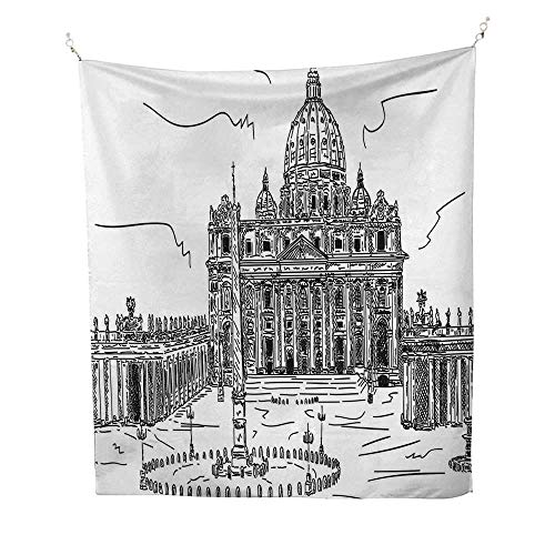 ArttapestryMonochrome Sketch Style Basilica di San Pietro Historical Monuments Tourist Attractions 40W x 60L inch Wall tapestryDark Green
