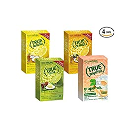True Lemon, Lime, Orange & Grapefruit 32ct Boxes Sampler Pack (4 packs) 5 Includes: 1 32-ct. True Lemon | 1 32-ct. True Lime | 1 32-ct True Orange | 1-32ct True Grapefruit 100% Natural. 100% Delicious. 100% Convenient. No Artificial Sweetners, No Preservatives, No Sodium, No Gluten