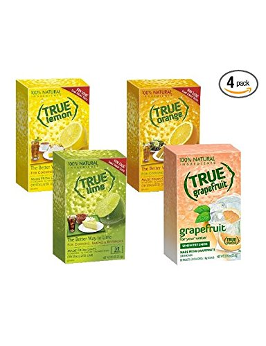 True Lemon, Lime, Orange & Grapefruit 32ct Boxes Sampler Pack (4 packs) 1 <p>True Lemon, Lime, Orange & Grapefruit 32ct Boxes Sampler Pack (4 packs) Includes: 1 32-ct. True Lemon | 1 32-ct. True Lime | 1 32-ct True Orange | 1-32ct True Grapefruit 100% Natural. 100% Delicious. 100% Convenient. No Artificial Sweetners, No Preservatives, No Sodium, No Gluten Enjoy fresh-squeezed Lemon, Lime, & Orange anytime, anywhere! Great for Offices and Lounges. Add to beverages, baked goods or cooking</p>