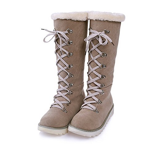 AmoonyFashion Womens Solid Low-Heels Round Closed Toe Imitated Suede Pull-On Snow-Boots Beige AlJ2q