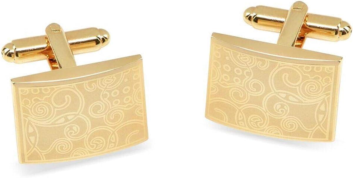 JewelsiQ Mens Cufflinks 14k Gold Plated Rectangle Shaped Laser Engraved Elegant Design (NO Gift Box) Gold-Plated-Brass