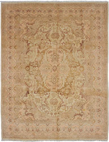 eCarpet Gallery Large Area Rug for Living Room, Bedroom | Hand-Knotted | 100% Wool | Sultanabad Bordered Ivory Rug 7'11