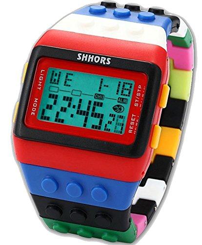 Rainbow Building Blocks Digital LED Light Ladies Men's Waterproof Sport Watch by Boolavard® TM UPICK (RED & BLACK)