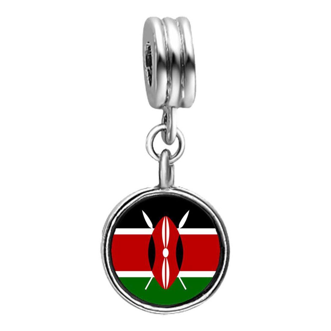 GiftJewelryShop Kenya Flag Photo Red Zircon Crystal July Birthstone Flower Dangle Charm Bracelets