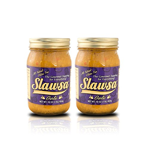 Slawsa All-Natural Gluten-Free The Gourmet Topping for Everything Certified Kosher Garlic Flavor 16 oz 2 pack