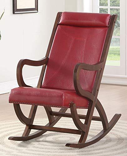 Farmhouse Accent Chairs ACME Triton Rocking Chair – – Burgundy PU & Walnut farmhouse accent chairs