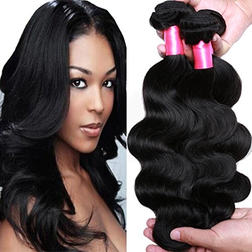lian Virgin Hair Body Wave Remy Human Hair 3Bundles Weaves 100% Unprocessed Hair Extensions Natural Color 20 22 24Inch ()