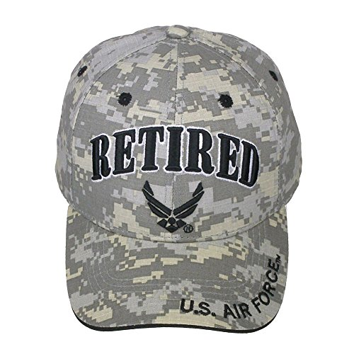 Official Licensed Retired US Air Force Adjustable Velcro Back Cotton Cap Hat - Digital Camo