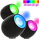 OriGlam Touch Sensor Living 256 Color Changing Mood Light Atmosphere Lamp Projection Night Light with Built-in Rechargeable Battery for Christmas Yoga Decoration (Black)