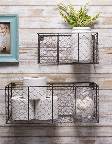 DII Z01929 Rustic Farmhouse Vintage Chicken Wire Wall Basket, Small (Set of 2), Bronze by DII (Image #5)