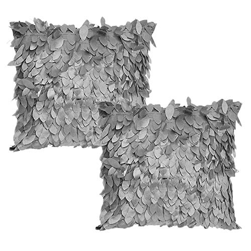 (WOMHOPE 2 Pack - 3D Solid Satin Flower Leaves Square Throw Covers Pillowcase Bed Sofa Couch Cushion Pillowcase Arts Decorative Cover Wedding Throw Pillow Covers)