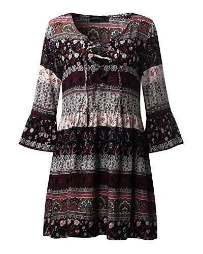 StyleDome Vestido Mujer Playa Pareo Camisola Floral Étinica Tribal Elegante Mangas 3/4 Cuello Pico Negro