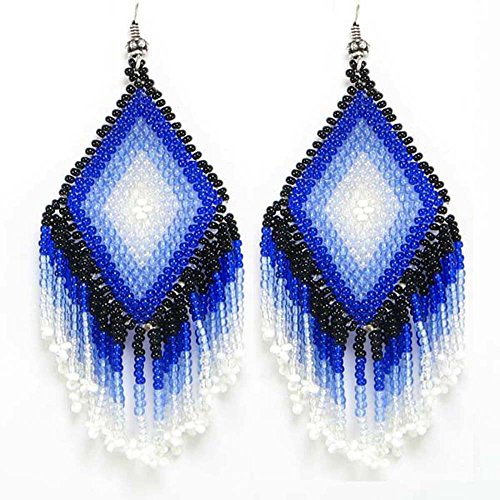 BLACK SKY BLUE SILVER FASHIONABLE NATIVE STYLE EARRINGS