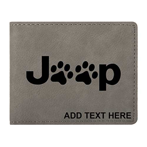 Personalized Engraved Jeep Paw Prints Synthetic Leather Wallet, Gray (Leather Print Synthetic)