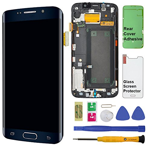 Display Touch Screen (AMOLED) Digitizer Assembly with Frame for Samsung Galaxy S6 Edge (5.1 inch) AT&T (G925A) / T-Mobile (G925T) / Global (G925F) (for Phone Repair) (Black Sapphire) - Dot Sapphire