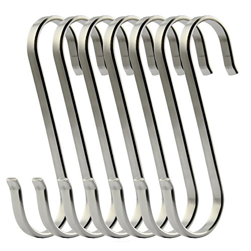 RuiLing 6-Pack Size X-Large Flat S Hooks Heavy-Duty Genuine Solid 304 Stainless Steel S Shaped Hanging Hooks,Kitchen Spoon Pan Pot Hanging Hooks Hangers Multiple uses.