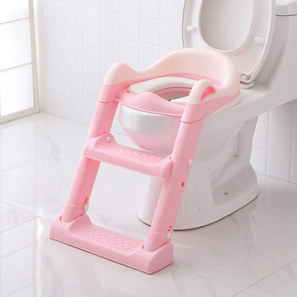 XWJC Children's Toilet Toilet Baby Toilet Seat Baby Toilet Ladder Child Toilet Seat Soft Cushion (Color : Pink)