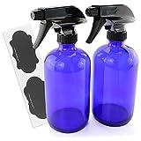 16-Ounce Cobalt Blue Glass Spray Bottles w/ Chalk Labels (2-Pack); Heavy Duty Mist & Stream Sprayers; Boston Round Blue Glass Refillable Spray Bottles; Reusable Lables; 2 Pack Bundle