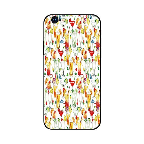 Phone Case Compatible with iphone6 Plus iphone6s Plus mobilephoneprotectingshell Brandnew Tempered Glass Backplane,Tiki Bar Decor,Exotic Cocktails Summer Drinks Fresh Juicy Beverages Watercolor Col (Riverdale Bar)
