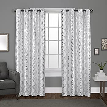 Exclusive Home Curtains Modo Metallic Geometric Window Curtain Panel Pair with Grommet Top, 54x96, Winter White, 2 Piece